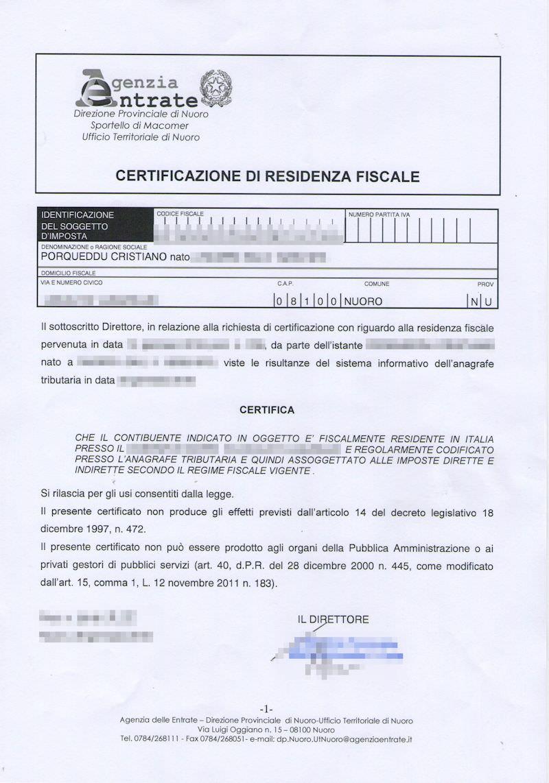 Certificazione Residenza Fiscale